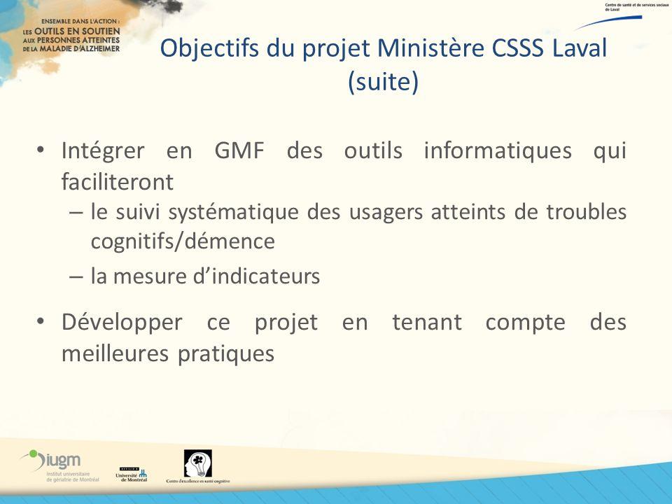 Objectifs du projet Ministère CSSS Laval (suite) Intégrer en GMF des outils informatiques qui faciliteront – le suivi systématique des usagers atteint