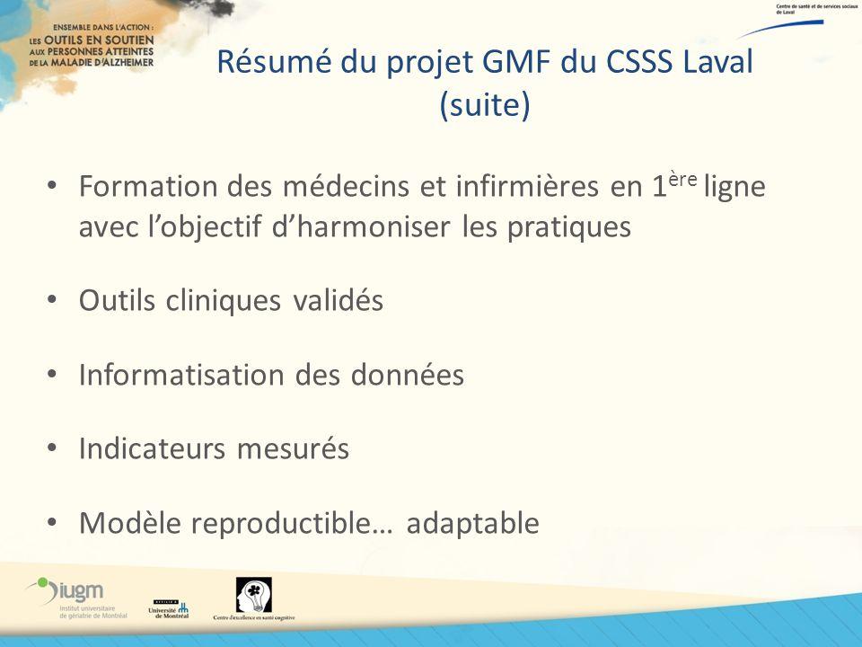 Résumé du projet GMF du CSSS Laval (suite) Formation des médecins et infirmières en 1 ère ligne avec lobjectif dharmoniser les pratiques Outils cliniq