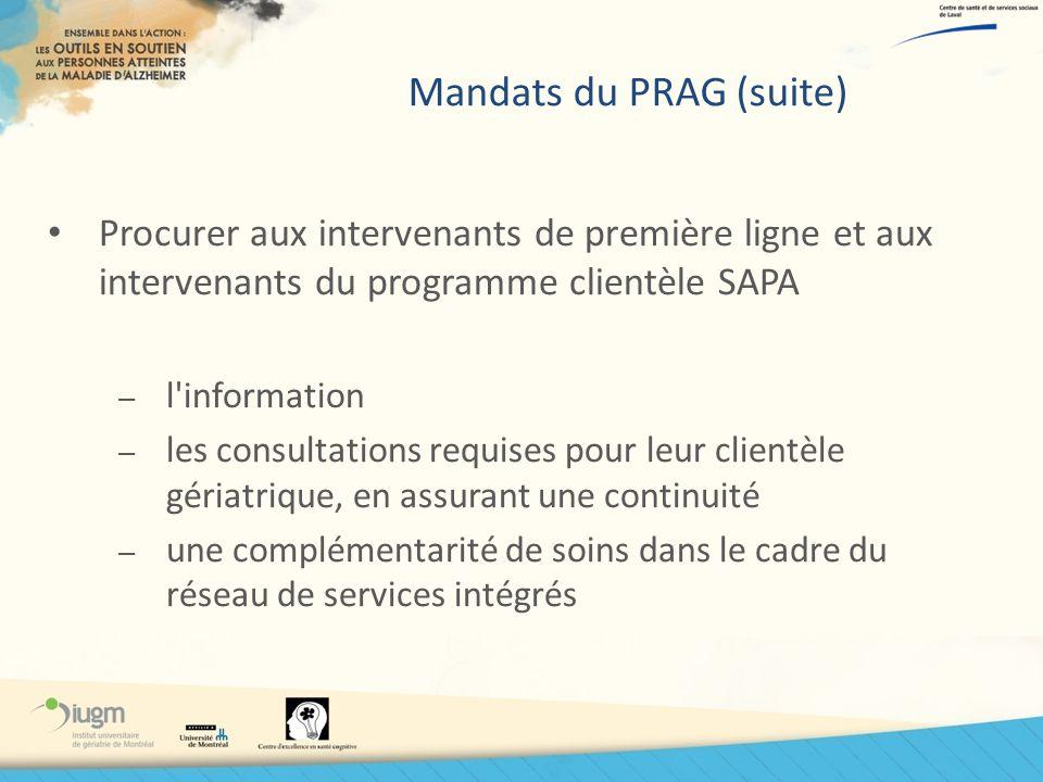Mandats du PRAG (suite) Procurer aux intervenants de première ligne et aux intervenants du programme clientèle SAPA – l'information – les consultation