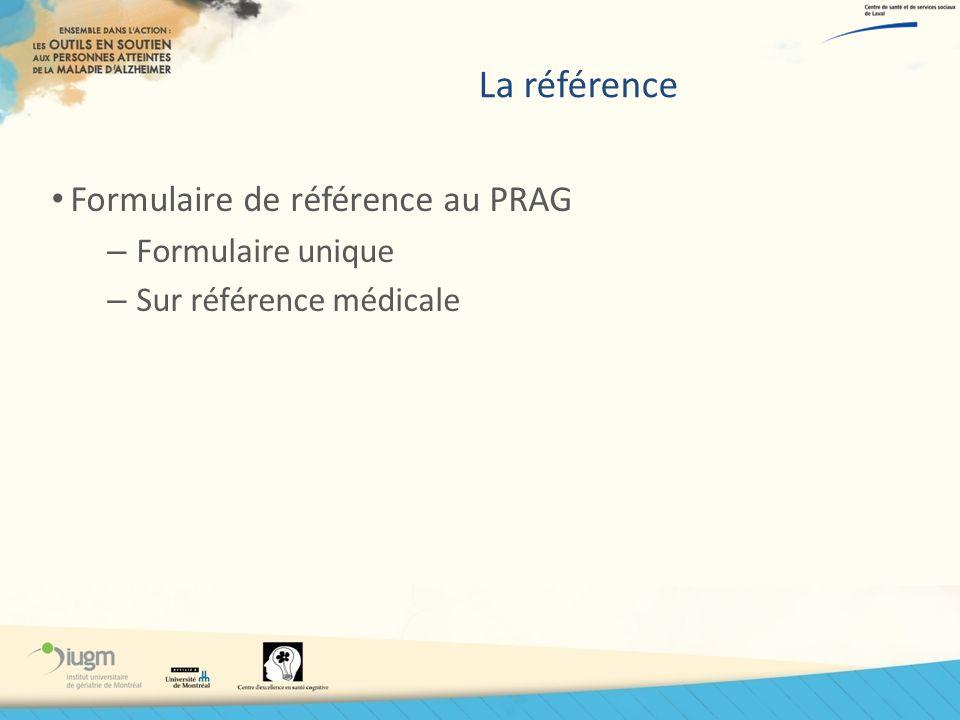 La référence Formulaire de référence au PRAG – Formulaire unique – Sur référence médicale