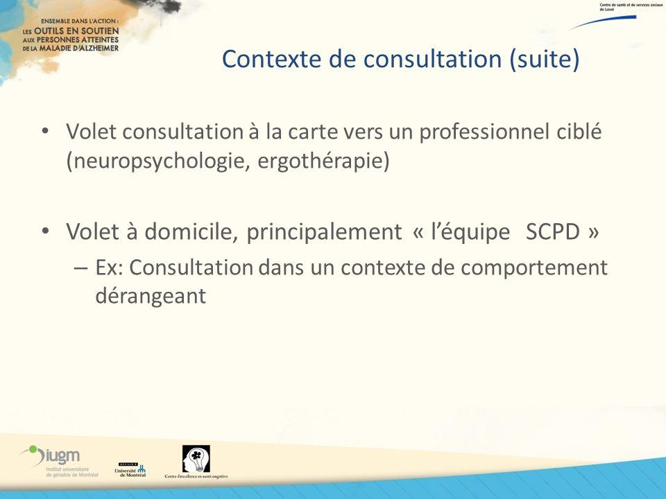Contexte de consultation (suite) Volet consultation à la carte vers un professionnel ciblé (neuropsychologie, ergothérapie) Volet à domicile, principa