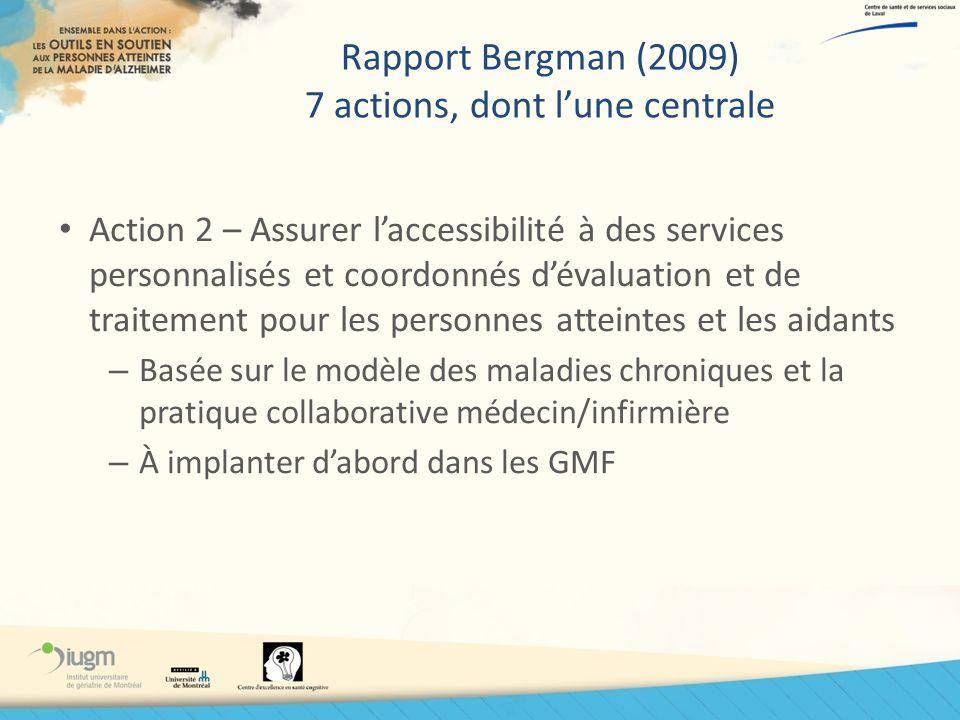 Rapport Bergman (2009) 7 actions, dont lune centrale Action 2 – Assurer laccessibilité à des services personnalisés et coordonnés dévaluation et de tr