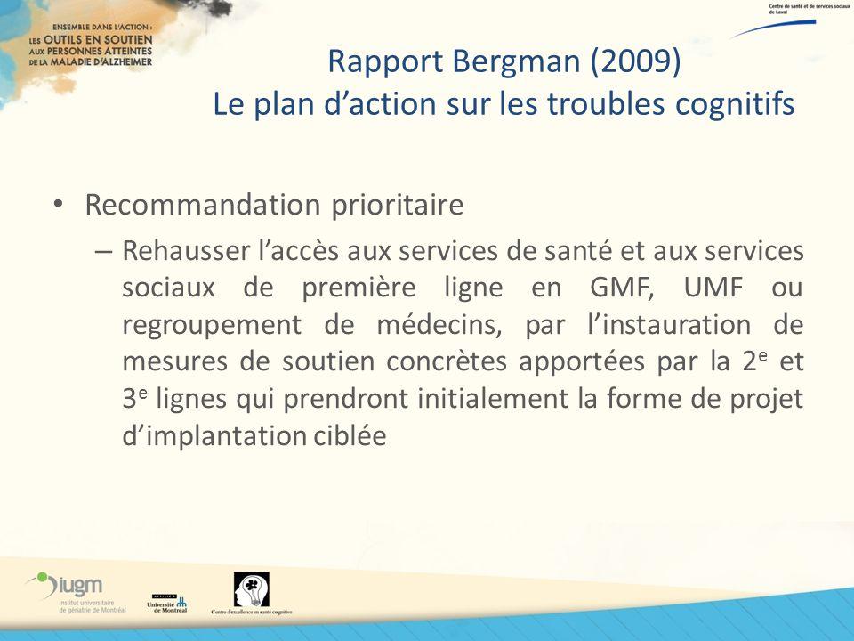 Rapport Bergman (2009) Le plan daction sur les troubles cognitifs Recommandation prioritaire – Rehausser laccès aux services de santé et aux services
