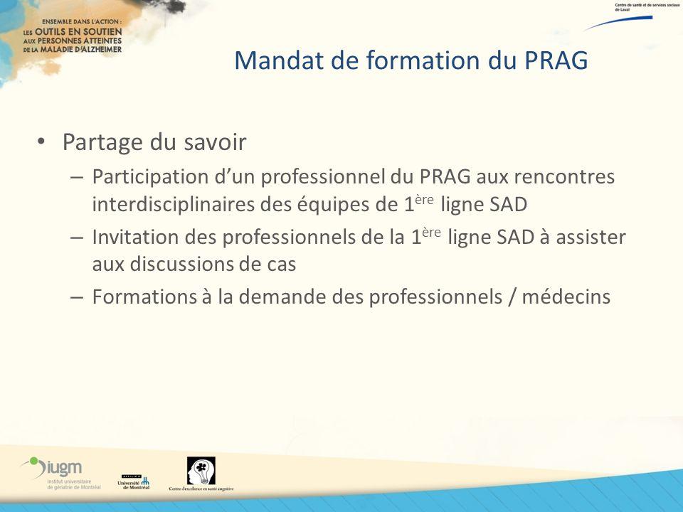 Mandat de formation du PRAG Partage du savoir – Participation dun professionnel du PRAG aux rencontres interdisciplinaires des équipes de 1 ère ligne