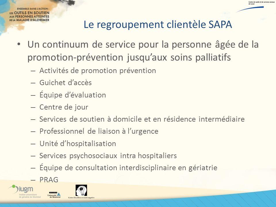 Le regroupement clientèle SAPA Un continuum de service pour la personne âgée de la promotion-prévention jusquaux soins palliatifs – Activités de promo