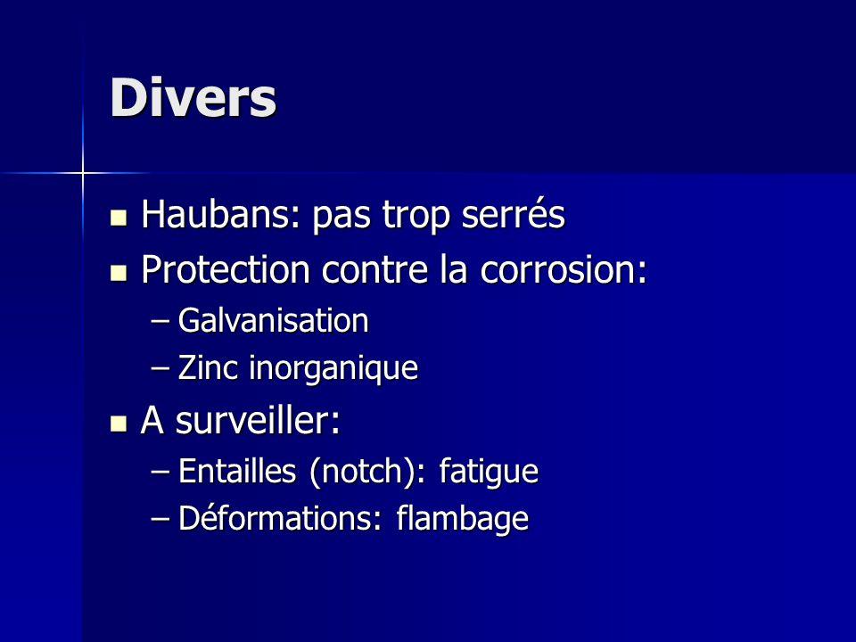 Divers Haubans: pas trop serrés Haubans: pas trop serrés Protection contre la corrosion: Protection contre la corrosion: –Galvanisation –Zinc inorgani