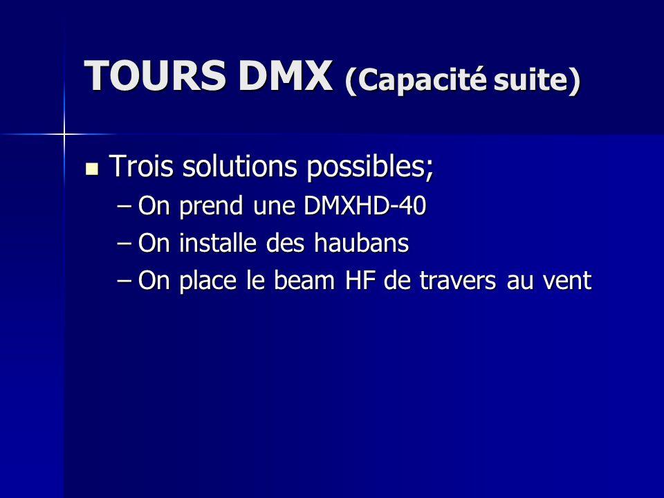 TOURS DMX (Capacité suite) Trois solutions possibles; Trois solutions possibles; –On prend une DMXHD-40 –On installe des haubans –On place le beam HF