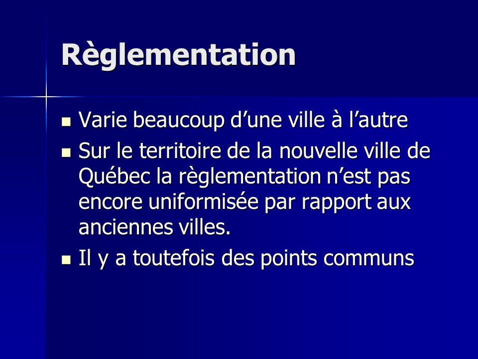 Règlementation Varie beaucoup dune ville à lautre Varie beaucoup dune ville à lautre Sur le territoire de la nouvelle ville de Québec la règlementatio