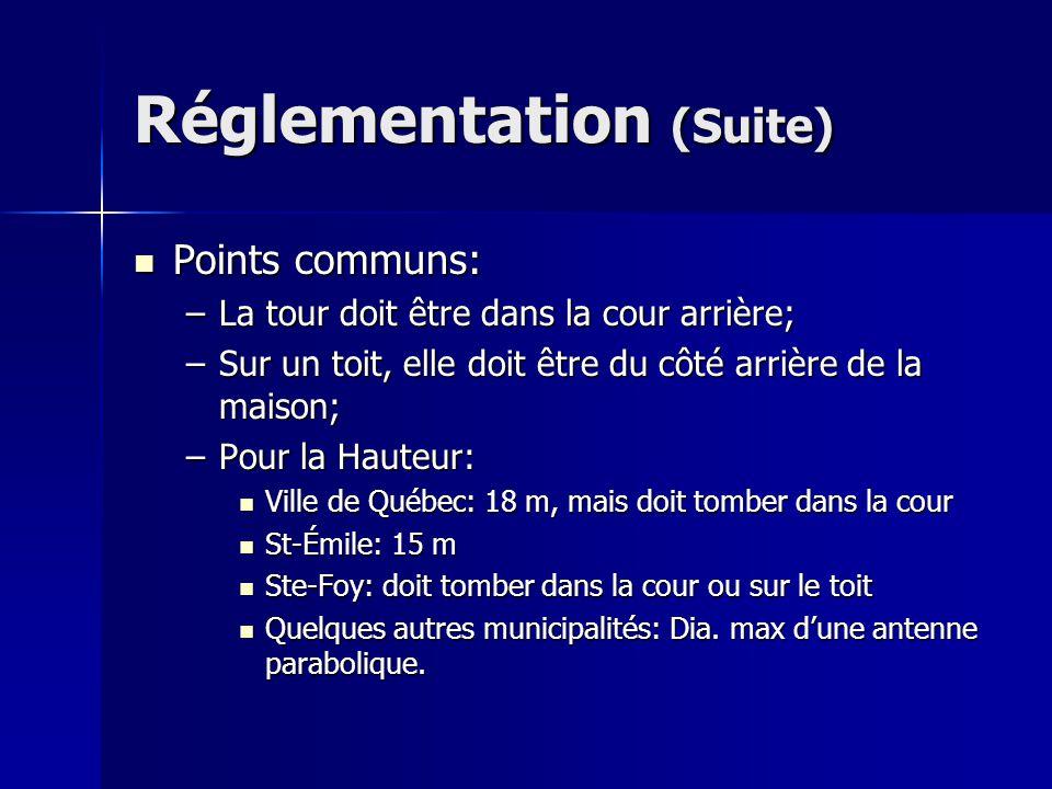 Réglementation (Suite) Points communs: Points communs: –La tour doit être dans la cour arrière; –Sur un toit, elle doit être du côté arrière de la mai