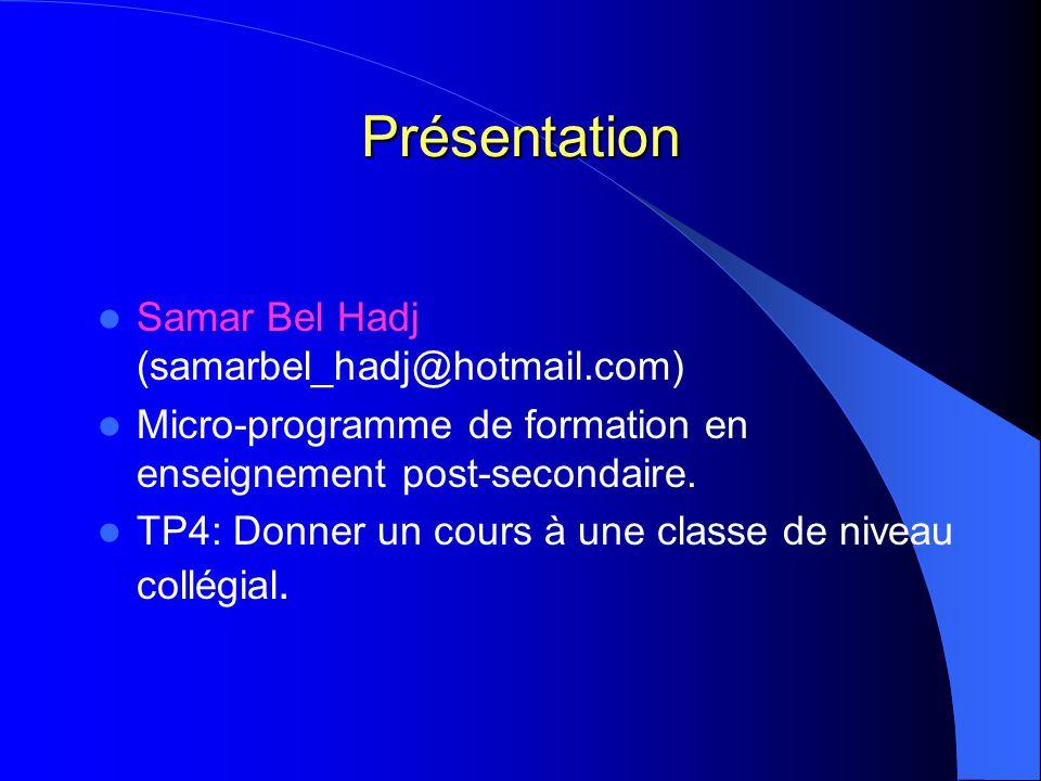 Présentation Samar Bel Hadj (samarbel_hadj@hotmail.com) Micro-programme de formation en enseignement post-secondaire. TP4: Donner un cours à une class