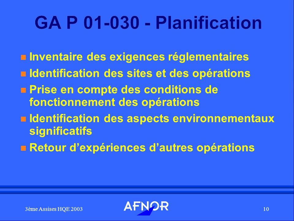 3ème Assises HQE 200310 GA P 01-030 - Planification n Inventaire des exigences réglementaires n Identification des sites et des opérations n Prise en