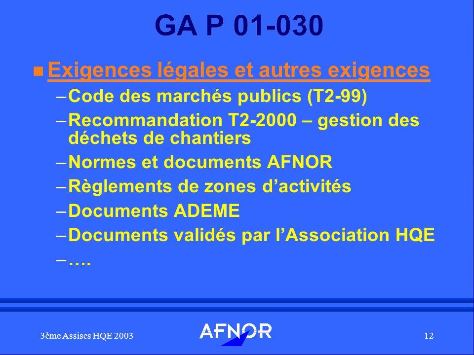 3ème Assises HQE 200312 GA P 01-030 n Exigences légales et autres exigences –Code des marchés publics (T2-99) –Recommandation T2-2000 – gestion des dé