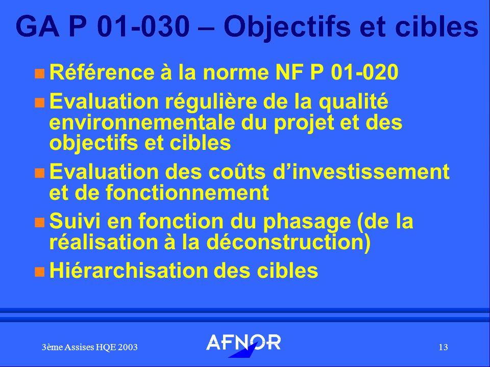 3ème Assises HQE 200313 GA P 01-030 – Objectifs et cibles n Référence à la norme NF P 01-020 n Evaluation régulière de la qualité environnementale du
