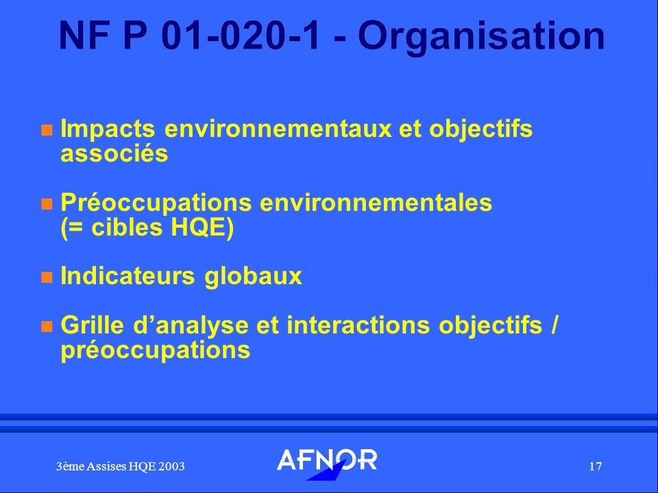 3ème Assises HQE 200317 NF P 01-020-1 - Organisation n Impacts environnementaux et objectifs associés n Préoccupations environnementales (= cibles HQE