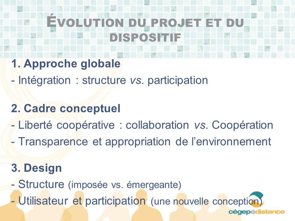 É VOLUTION DU PROJET ET DU DISPOSITIF 1. Approche globale - Intégration : structure vs.