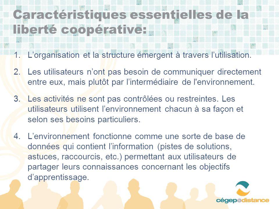 Caractéristiques essentielles de la liberté coopérative: 1.Lorganisation et la structure émergent à travers lutilisation.