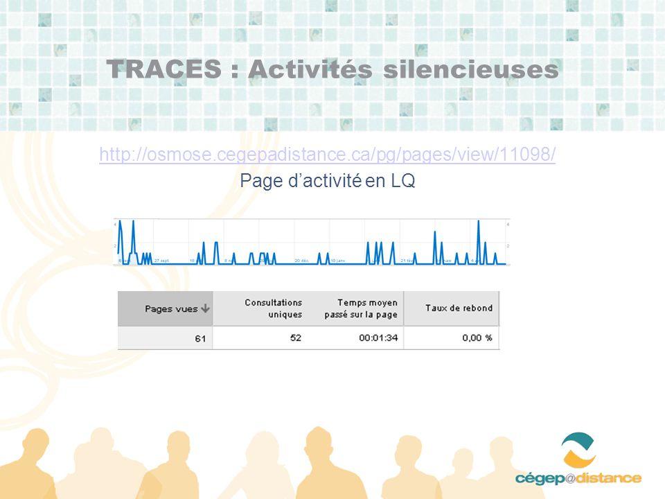 TRACES : Activités silencieuses http://osmose.cegepadistance.ca/pg/pages/view/11098/ Page dactivité en LQ