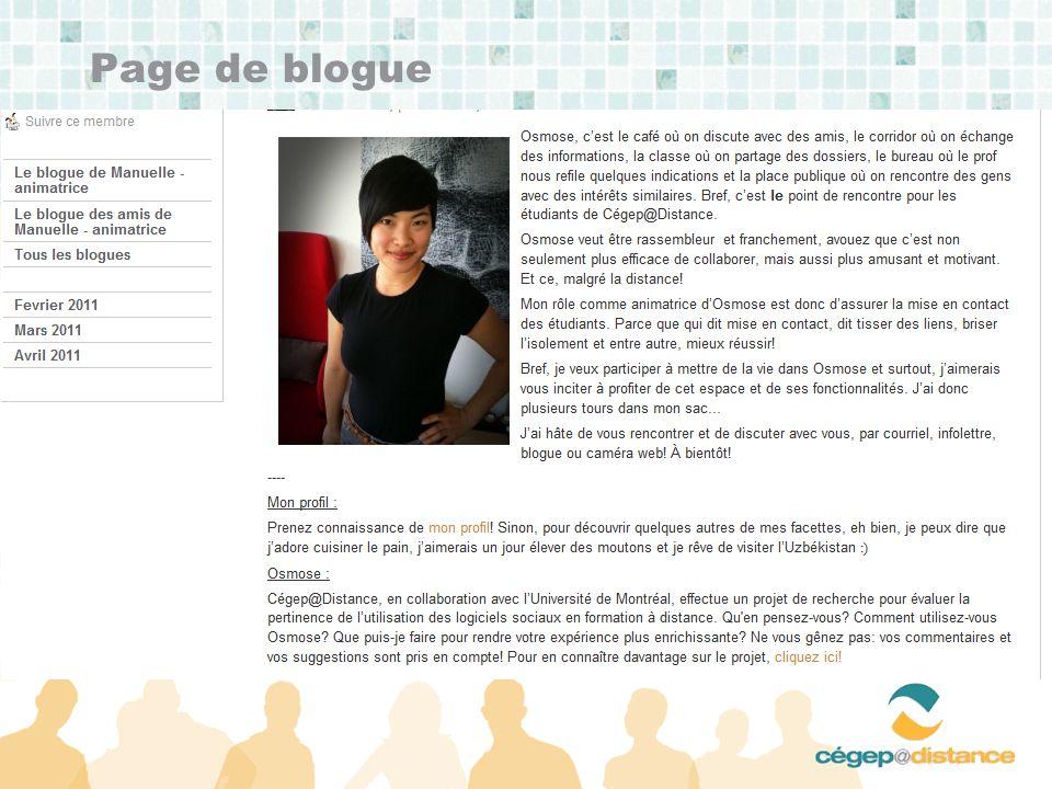 Page de blogue