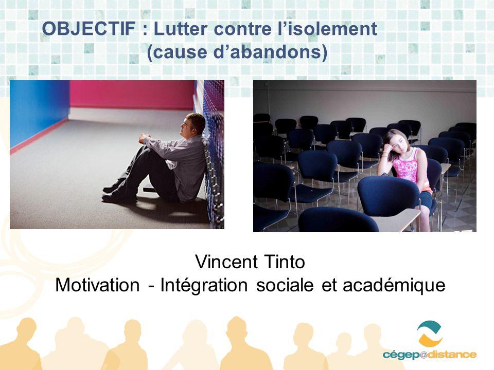 OBJECTIF : Lutter contre lisolement (cause dabandons) Vincent Tinto Motivation - Intégration sociale et académique