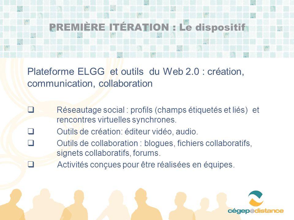 Plateforme ELGG et outils du Web 2.0 : création, communication, collaboration Réseautage social : profils (champs étiquetés et liés) et rencontres virtuelles synchrones.