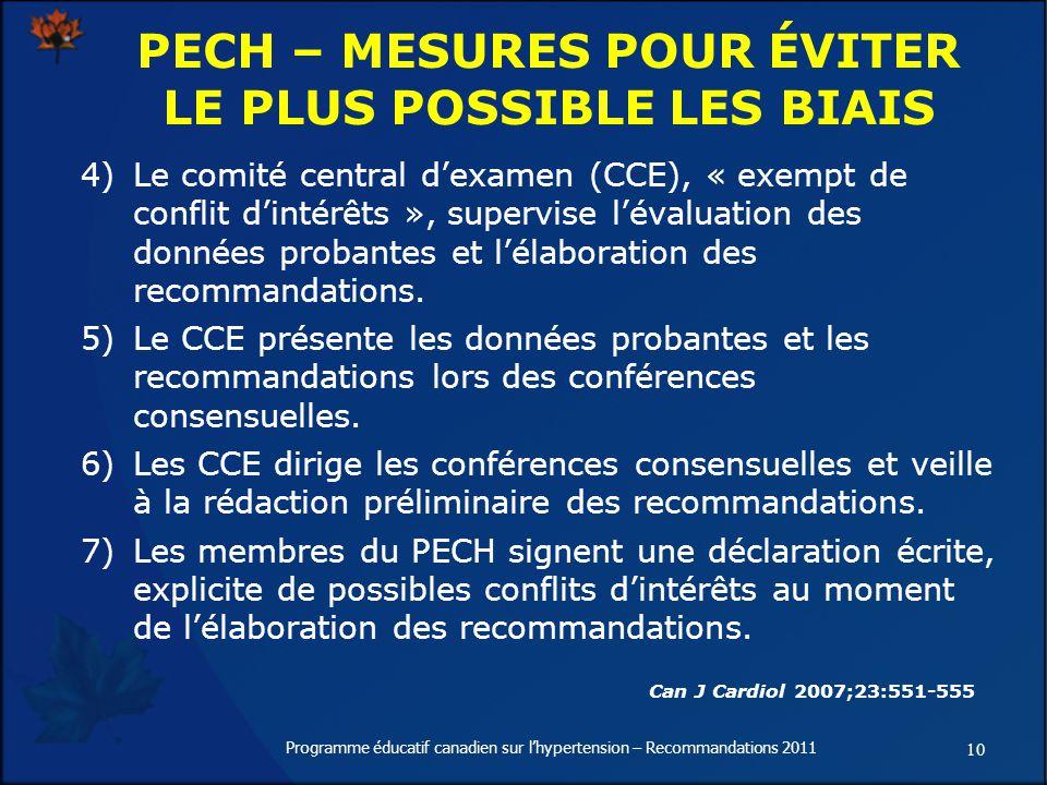 10 Programme éducatif canadien sur lhypertension – Recommandations 2011 4) Le comité central dexamen (CCE), « exempt de conflit dintérêts », supervise lévaluation des données probantes et lélaboration des recommandations.