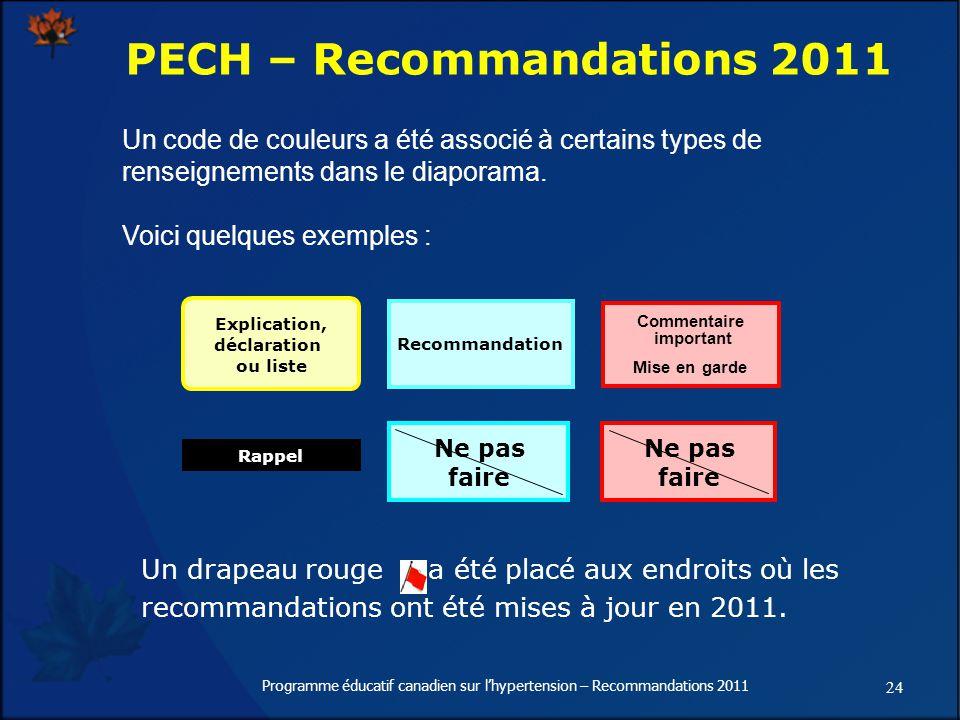 24 Programme éducatif canadien sur lhypertension – Recommandations 2011 Un code de couleurs a été associé à certains types de renseignements dans le diaporama.