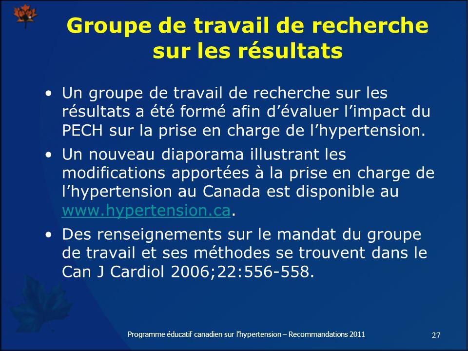 27 Programme éducatif canadien sur lhypertension – Recommandations 2011 Groupe de travail de recherche sur les résultats Un groupe de travail de recherche sur les résultats a été formé afin dévaluer limpact du PECH sur la prise en charge de lhypertension.