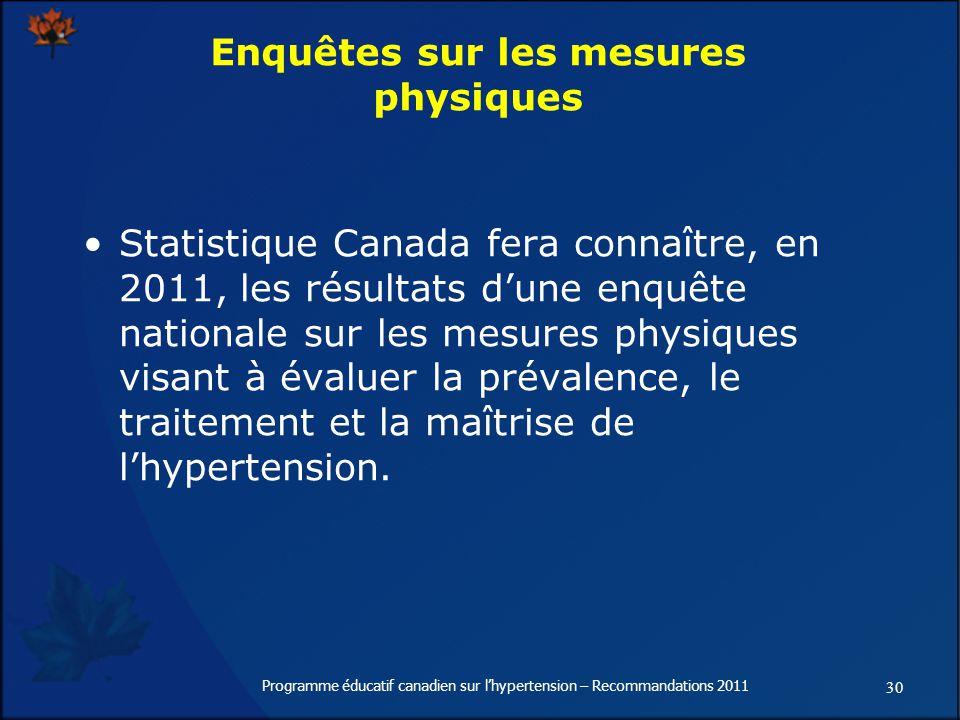 30 Programme éducatif canadien sur lhypertension – Recommandations 2011 Enquêtes sur les mesures physiques Statistique Canada fera connaître, en 2011, les résultats dune enquête nationale sur les mesures physiques visant à évaluer la prévalence, le traitement et la maîtrise de lhypertension.
