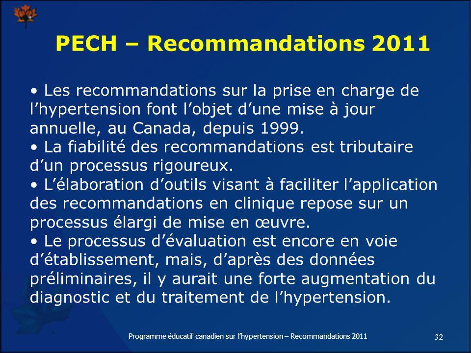 32 Programme éducatif canadien sur lhypertension – Recommandations 2011 Les recommandations sur la prise en charge de lhypertension font lobjet dune mise à jour annuelle, au Canada, depuis 1999.