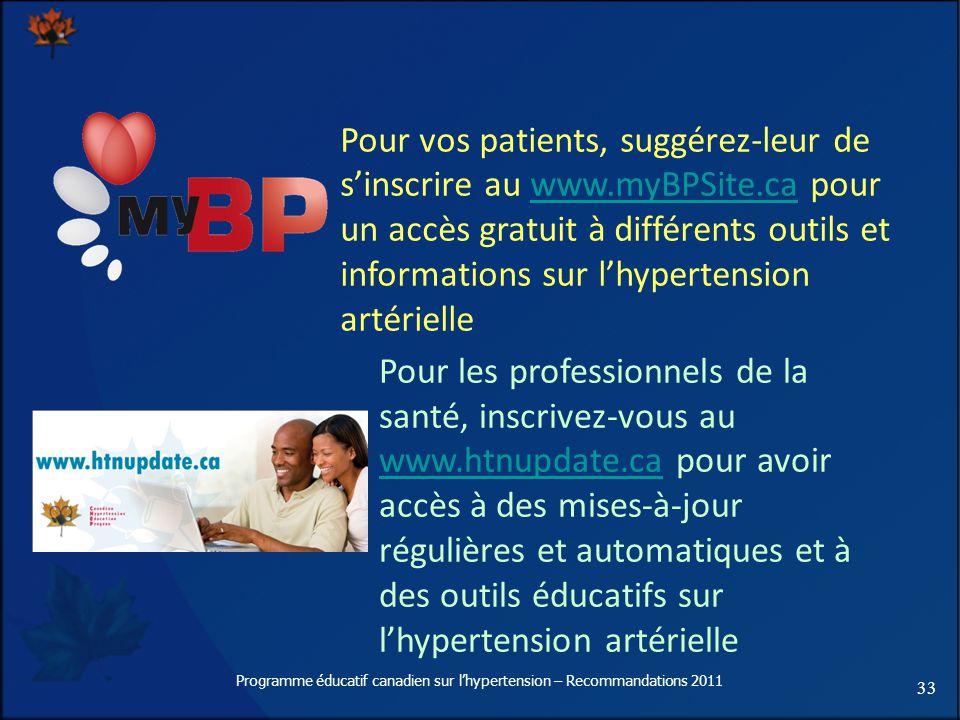 33 Programme éducatif canadien sur lhypertension – Recommandations 2011 Pour vos patients, suggérez-leur de sinscrire au www.myBPSite.ca pour un accès gratuit à différents outils et informations sur lhypertension artériellewww.myBPSite.ca Pour les professionnels de la santé, inscrivez-vous au www.htnupdate.ca pour avoir accès à des mises-à-jour régulières et automatiques et à des outils éducatifs sur lhypertension artérielle www.htnupdate.ca
