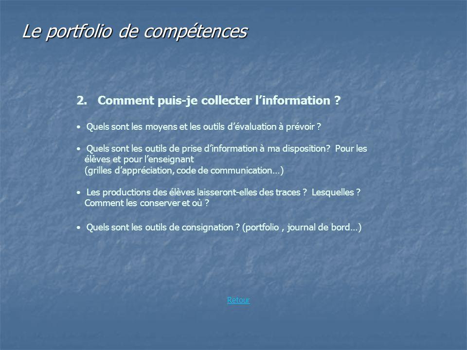 Le portfolio de compétences 2. Comment puis-je collecter linformation ? Quels sont les moyens et les outils dévaluation à prévoir ? Quels sont les out