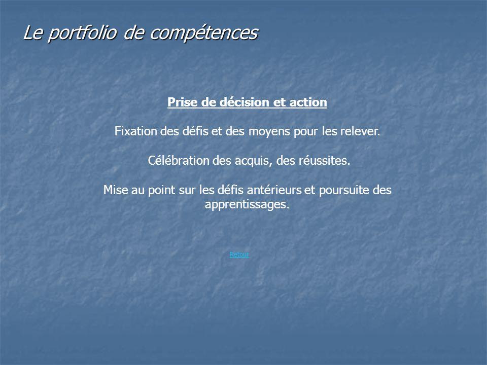 Le portfolio de compétences Prise de décision et action Fixation des défis et des moyens pour les relever. Célébration des acquis, des réussites. Mise