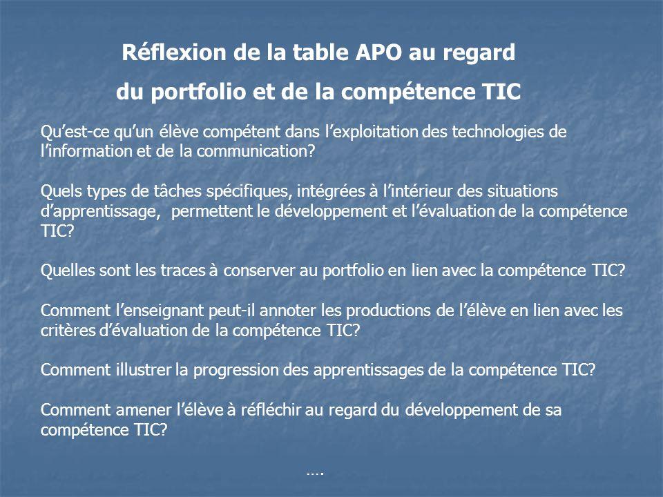 Réflexion de la table APO au regard du portfolio et de la compétence TIC Quest-ce quun élève compétent dans lexploitation des technologies de linforma
