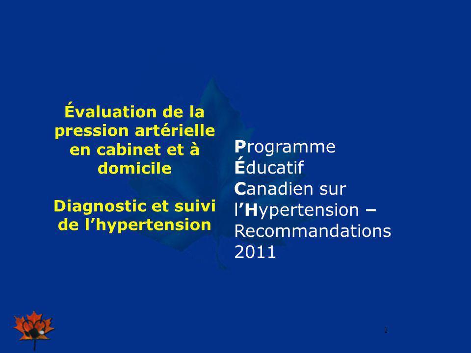 2009 1 Évaluation de la pression artérielle en cabinet et à domicile Diagnostic et suivi de lhypertension Programme Éducatif Canadien sur lHypertensio
