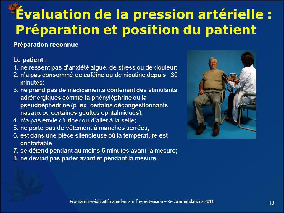 13 Évaluation de la pression artérielle : Préparation et position du patient Préparation reconnue Le patient : 1. ne ressent pas danxiété aiguë, de st