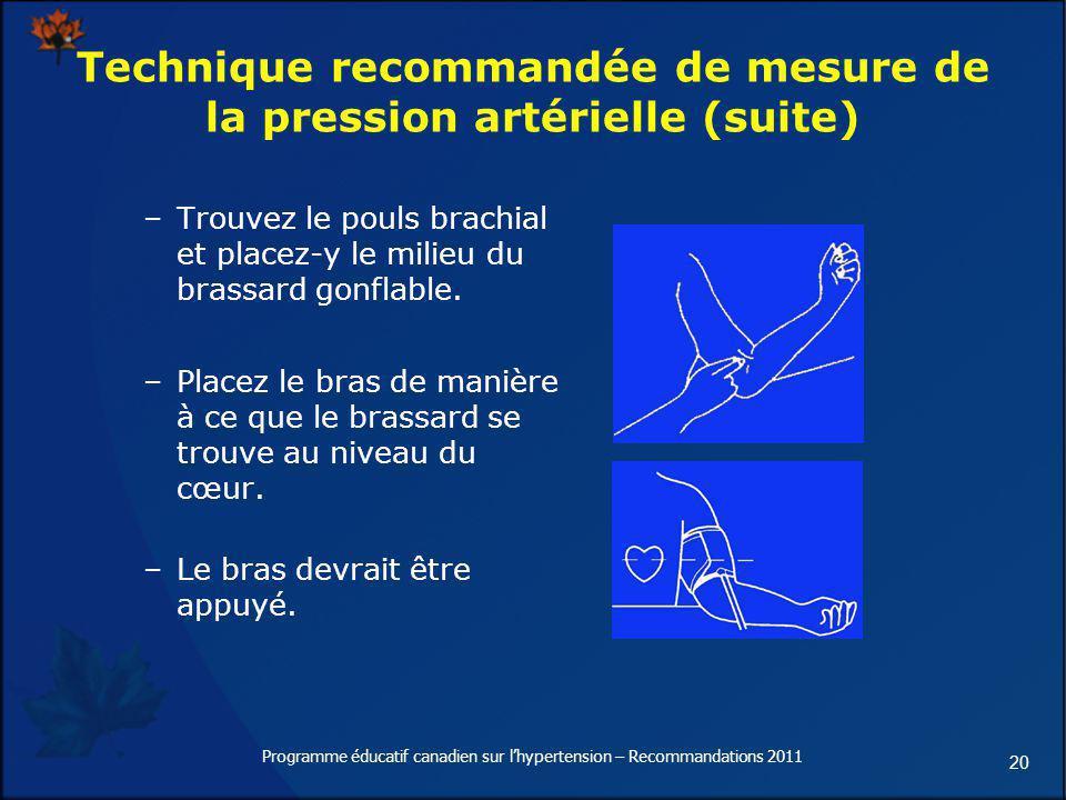 20 Technique recommandée de mesure de la pression artérielle (suite) –Trouvez le pouls brachial et placez-y le milieu du brassard gonflable. –Placez l