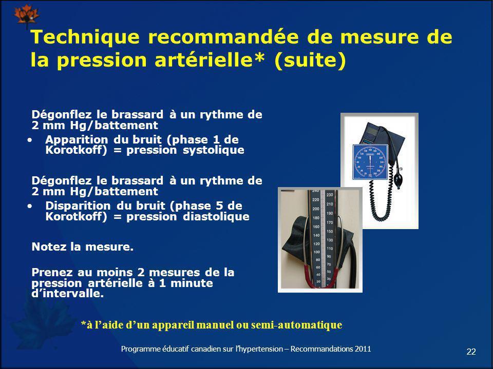 22 Technique recommandée de mesure de la pression artérielle* (suite) Dégonflez le brassard à un rythme de 2 mm Hg/battement Apparition du bruit (phas