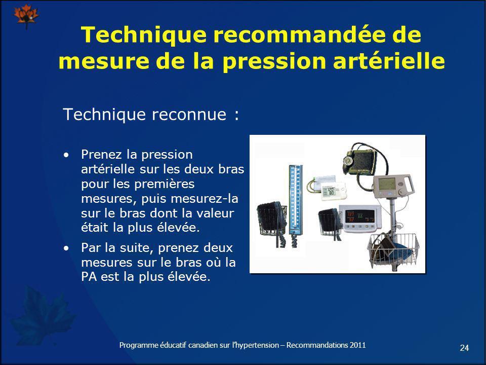 24 Technique recommandée de mesure de la pression artérielle Technique reconnue : Prenez la pression artérielle sur les deux bras pour les premières m
