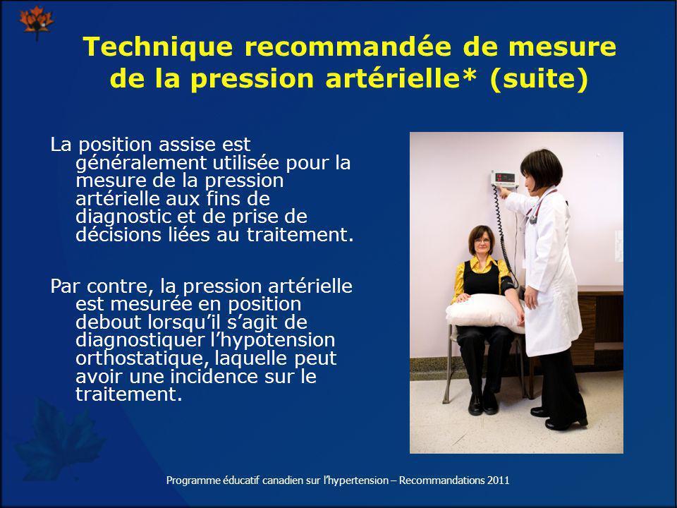 La position assise est généralement utilisée pour la mesure de la pression artérielle aux fins de diagnostic et de prise de décisions liées au traitem