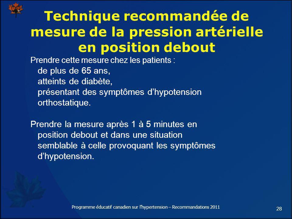 28 Technique recommandée de mesure de la pression artérielle en position debout Prendre cette mesure chez les patients : de plus de 65 ans, atteints d