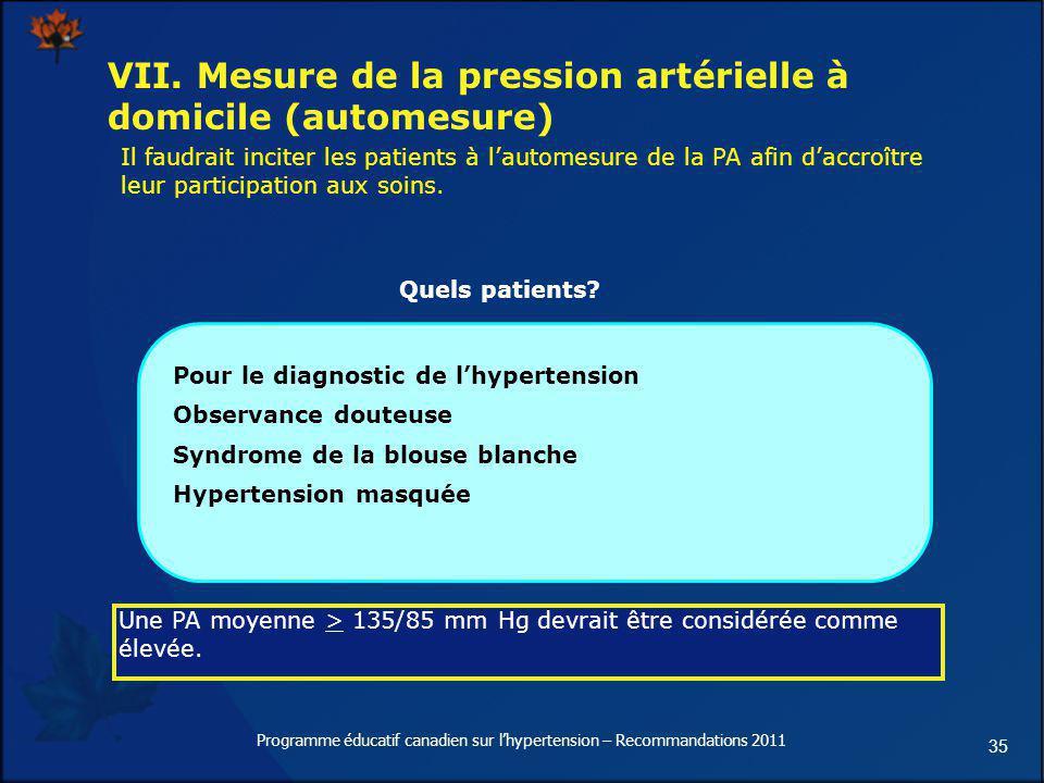 35 VII. Mesure de la pression artérielle à domicile (automesure) Pour le diagnostic de lhypertension Observance douteuse Syndrome de la blouse blanche