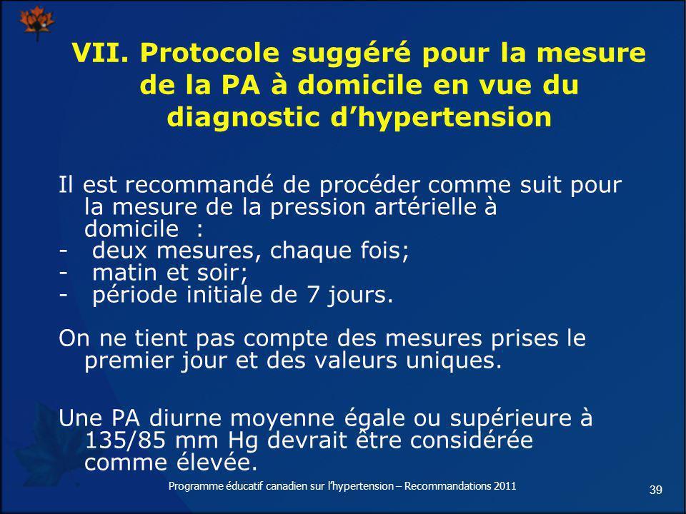 39 VII. Protocole suggéré pour la mesure de la PA à domicile en vue du diagnostic dhypertension Il est recommandé de procéder comme suit pour la mesur