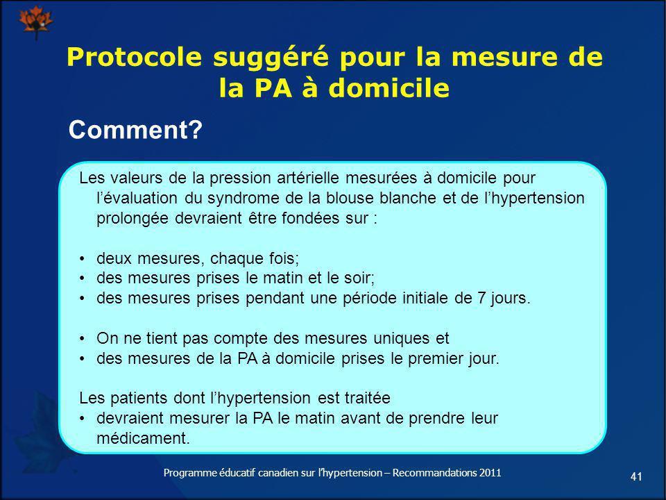 41 Protocole suggéré pour la mesure de la PA à domicile Les valeurs de la pression artérielle mesurées à domicile pour lévaluation du syndrome de la b