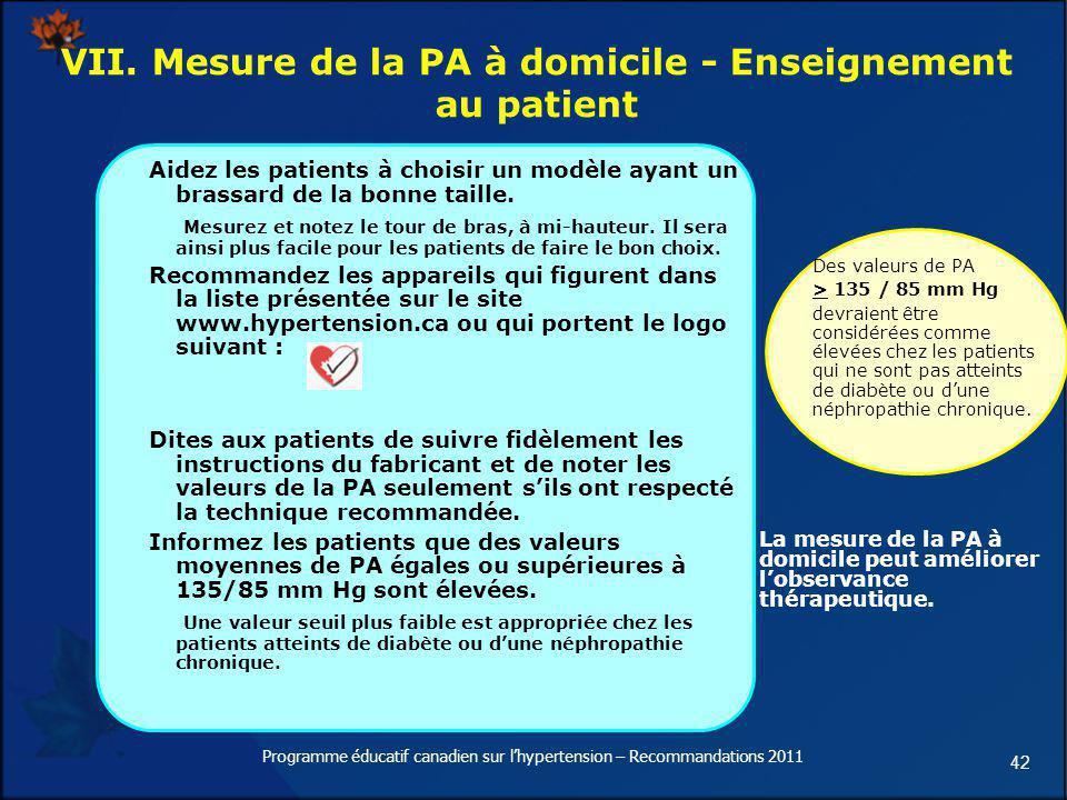 42 VII. Mesure de la PA à domicile - Enseignement au patient Aidez les patients à choisir un modèle ayant un brassard de la bonne taille. Mesurez et n