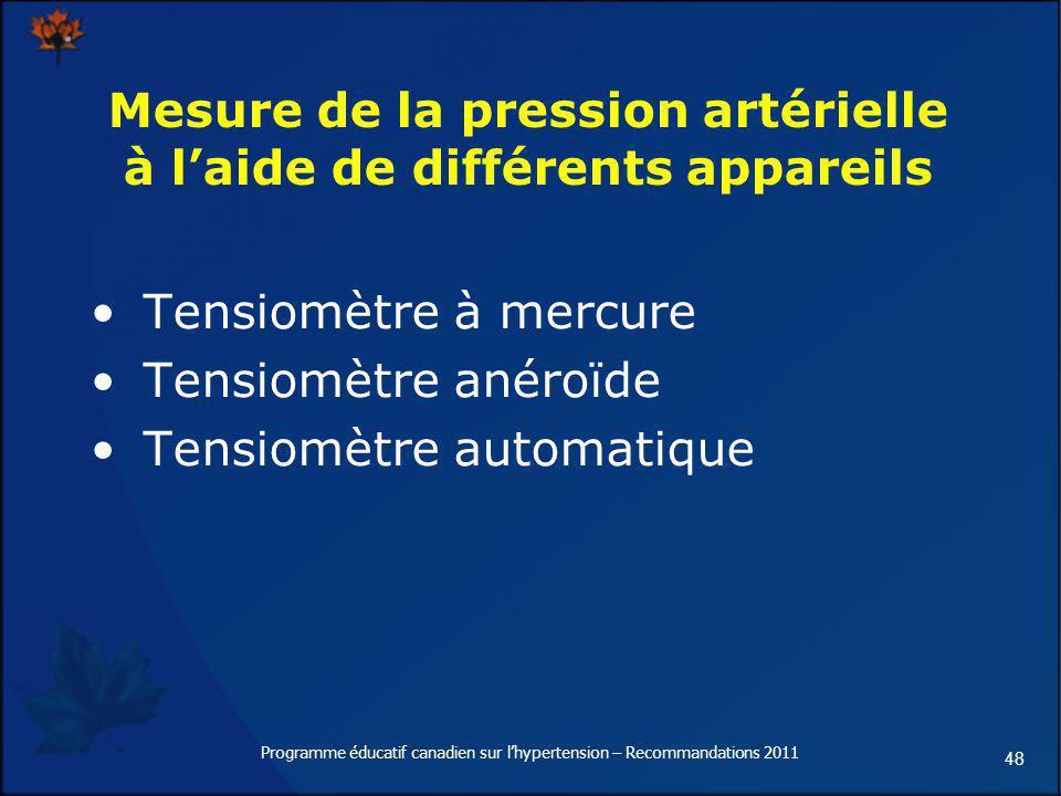 48 Mesure de la pression artérielle à laide de différents appareils Tensiomètre à mercure Tensiomètre anéroïde Tensiomètre automatique Programme éduca