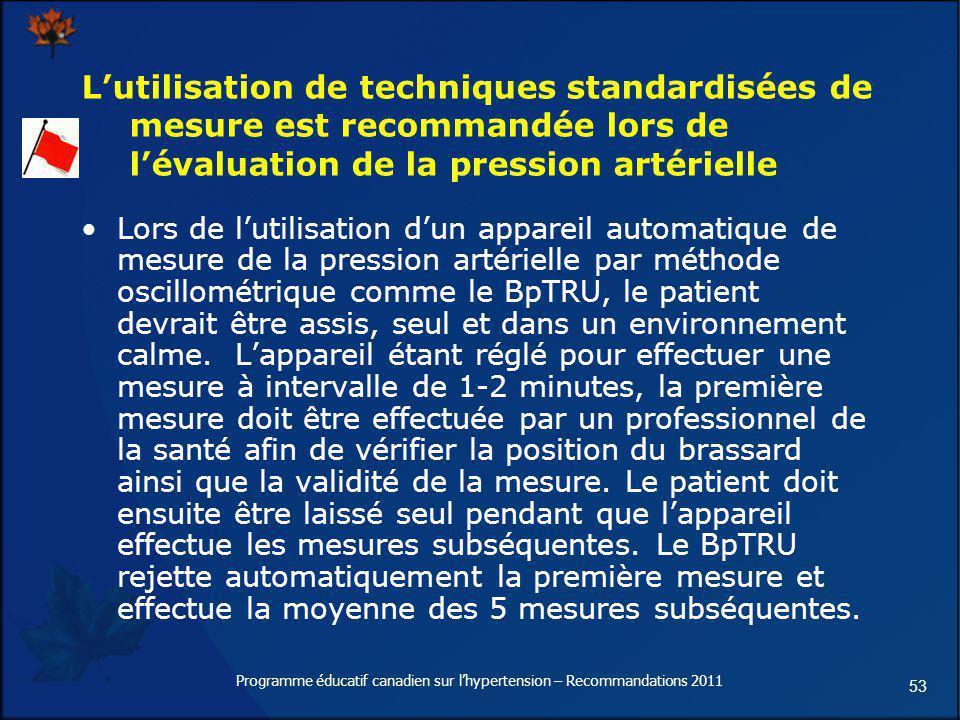 53 Lutilisation de techniques standardisées de mesure est recommandée lors de lévaluation de la pression artérielle Lors de lutilisation dun appareil