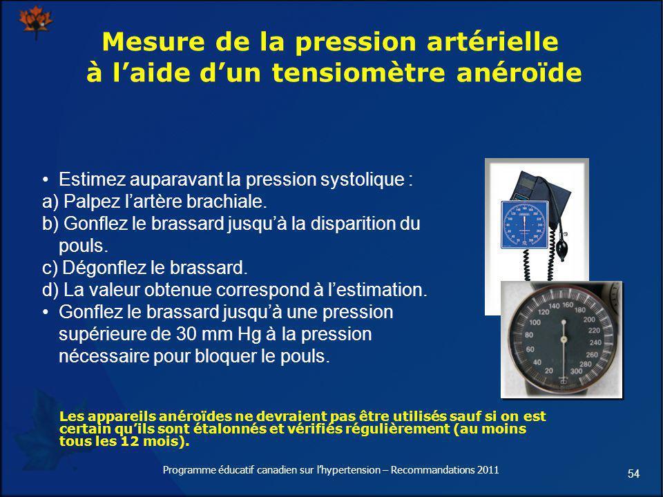 54 Mesure de la pression artérielle à laide dun tensiomètre anéroïde Estimez auparavant la pression systolique : a) Palpez lartère brachiale. b) Gonfl