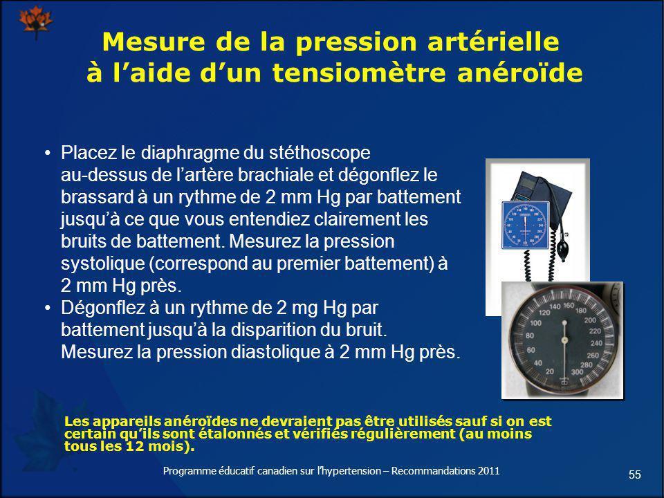55 Mesure de la pression artérielle à laide dun tensiomètre anéroïde Placez le diaphragme du stéthoscope au-dessus de lartère brachiale et dégonflez l