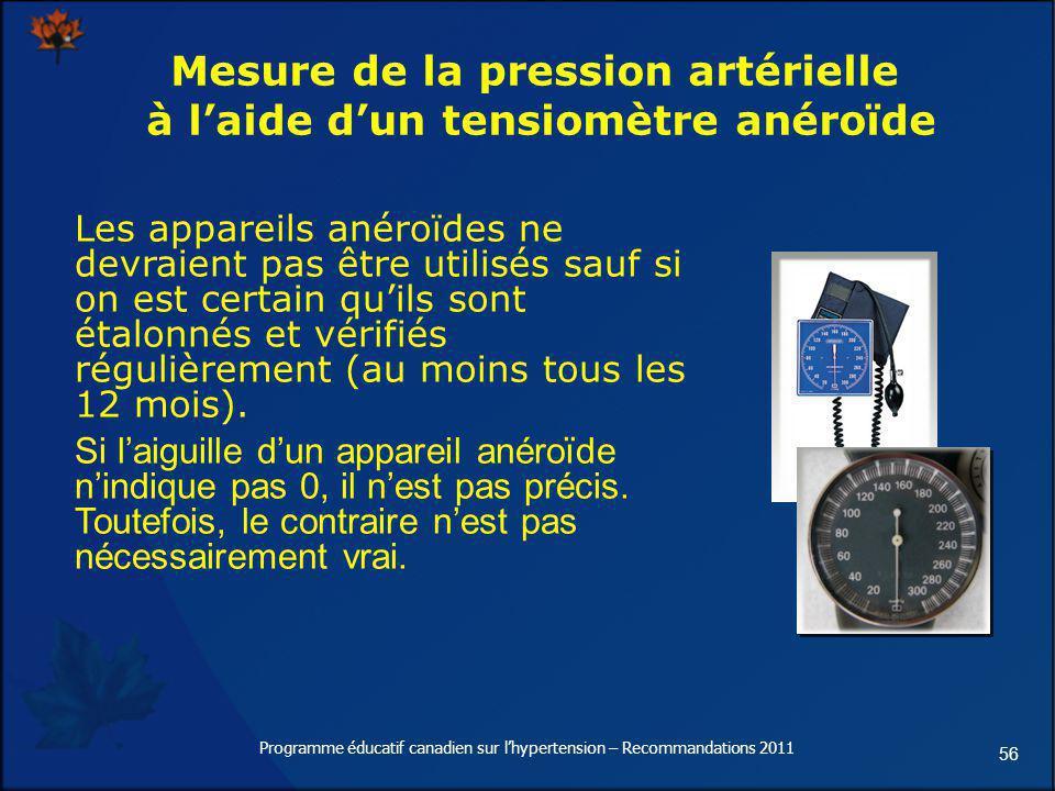 56 Mesure de la pression artérielle à laide dun tensiomètre anéroïde Les appareils anéroïdes ne devraient pas être utilisés sauf si on est certain qui