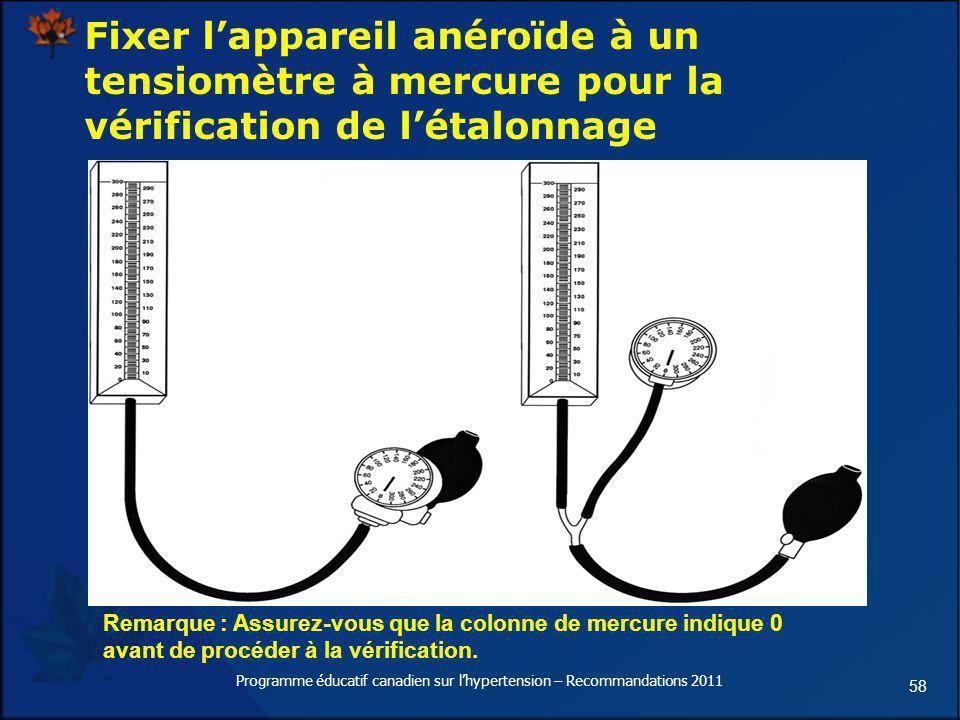 58 Fixer lappareil anéroïde à un tensiomètre à mercure pour la vérification de létalonnage Remarque : Assurez-vous que la colonne de mercure indique 0